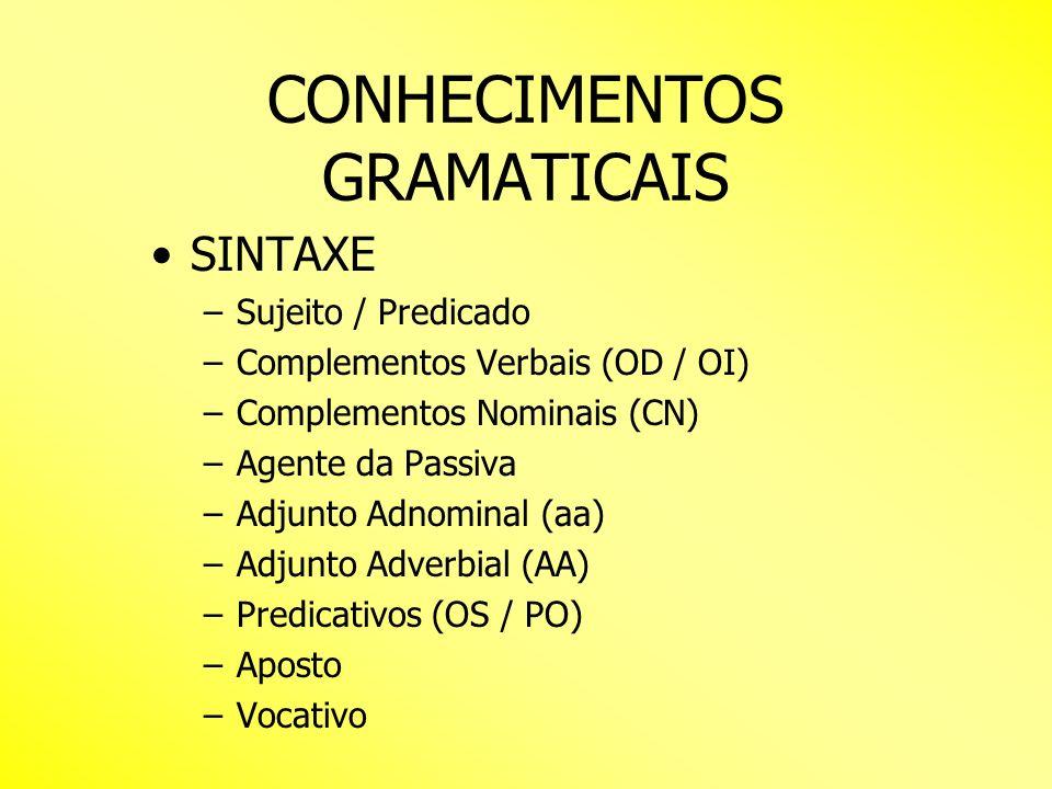 CONHECIMENTOS GRAMATICAIS