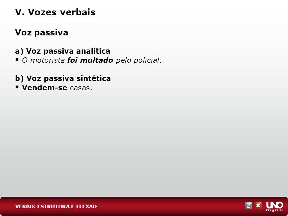 V. Vozes verbais Voz passiva a) Voz passiva analítica