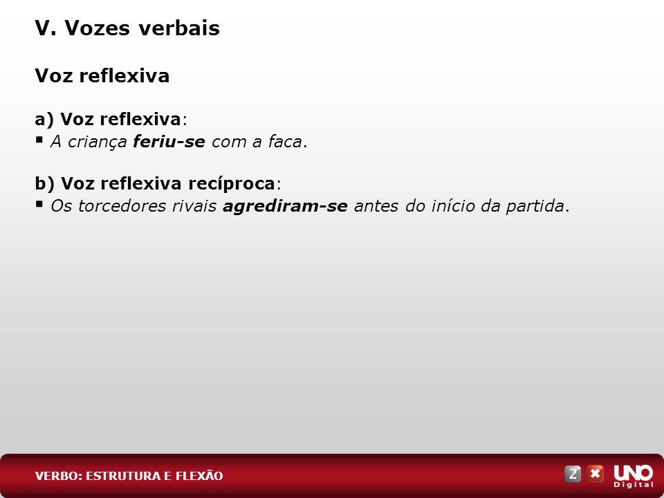 V. Vozes verbais Voz reflexiva a) Voz reflexiva: