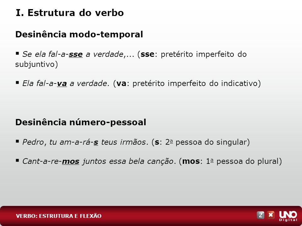 I. Estrutura do verbo Desinência modo-temporal