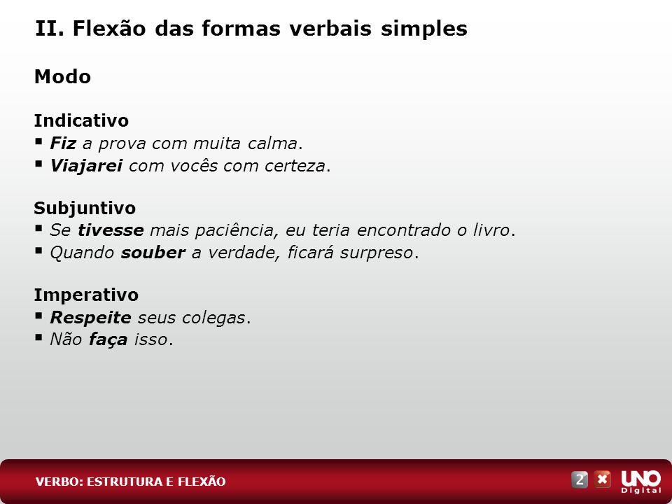 II. Flexão das formas verbais simples