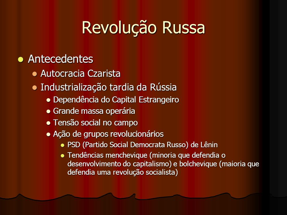 Revolução Russa Antecedentes Autocracia Czarista