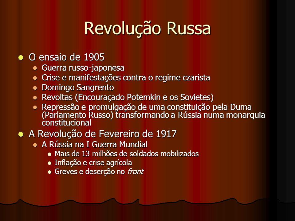 Revolução Russa O ensaio de 1905 A Revolução de Fevereiro de 1917
