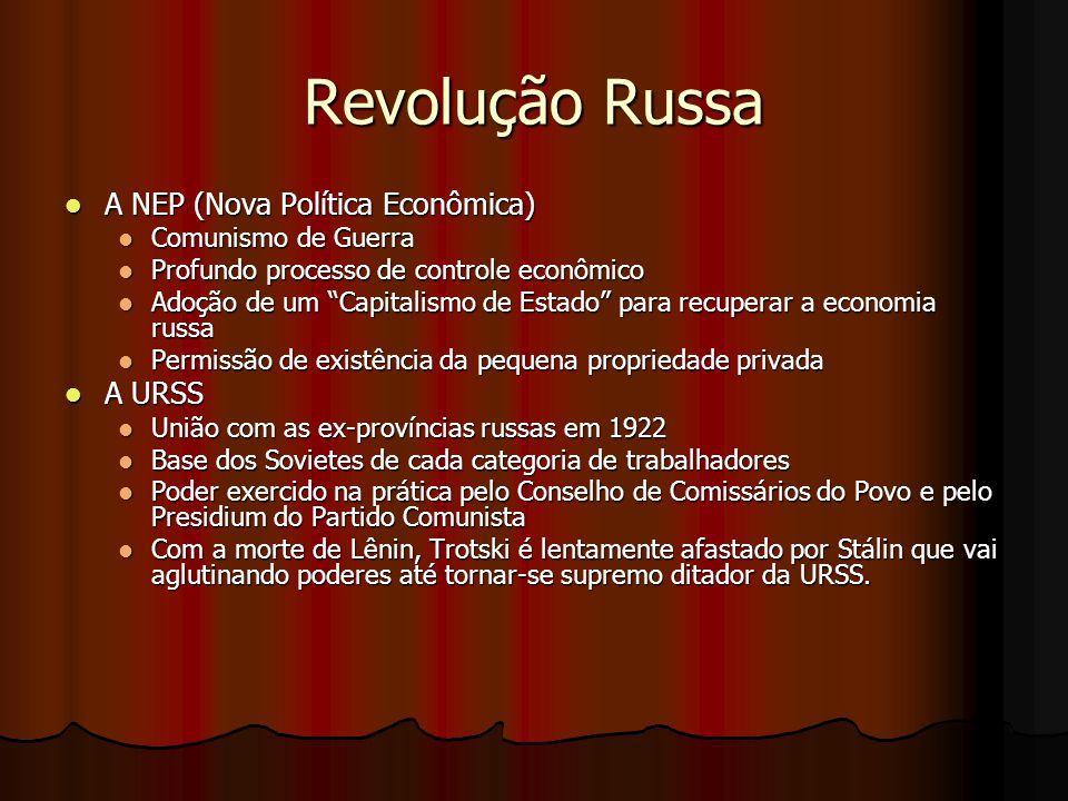 Revolução Russa A NEP (Nova Política Econômica) A URSS
