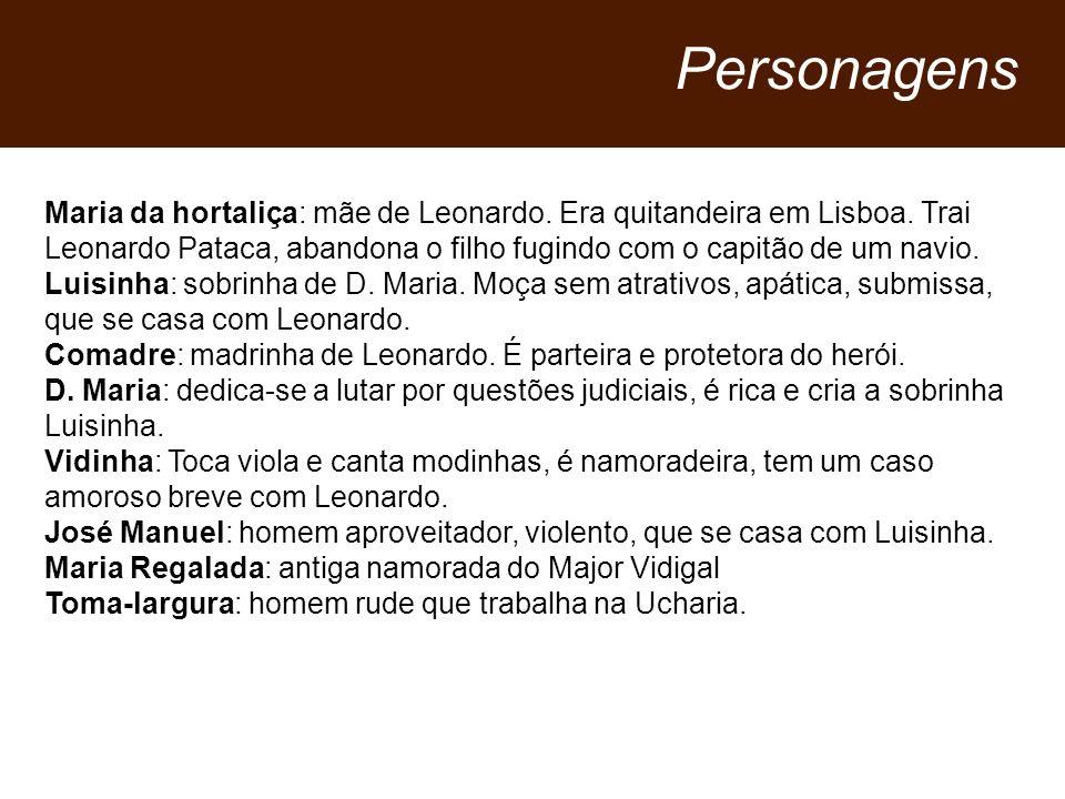 Personagens Maria da hortaliça: mãe de Leonardo. Era quitandeira em Lisboa. Trai Leonardo Pataca, abandona o filho fugindo com o capitão de um navio.