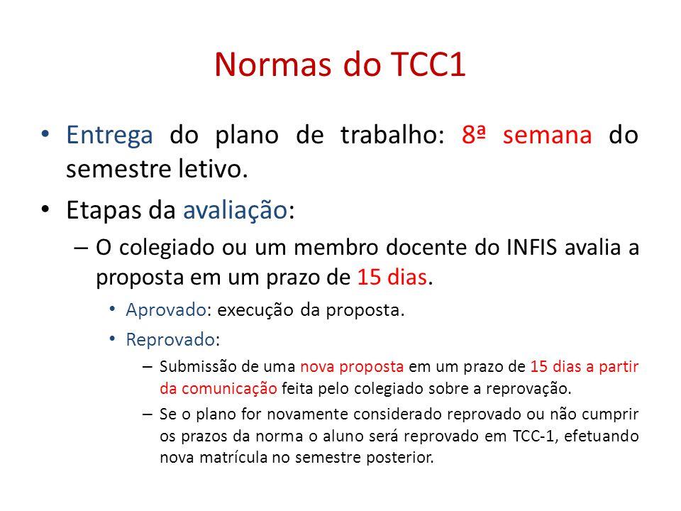Normas do TCC1 Entrega do plano de trabalho: 8ª semana do semestre letivo. Etapas da avaliação: