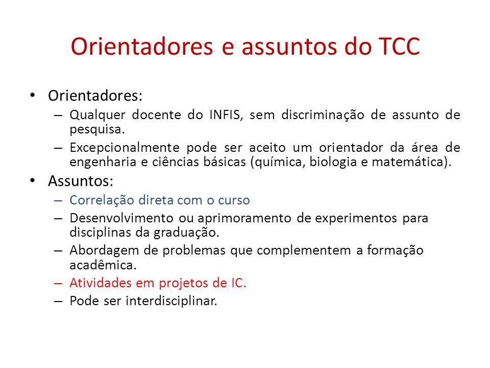 Orientadores e assuntos do TCC