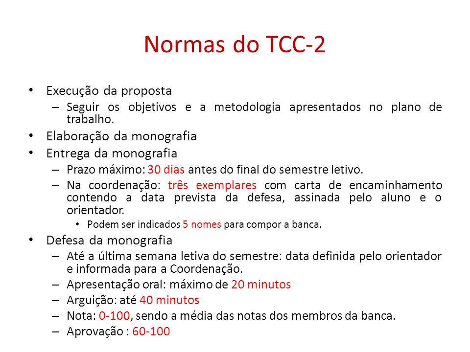 Normas do TCC-2 Execução da proposta Elaboração da monografia