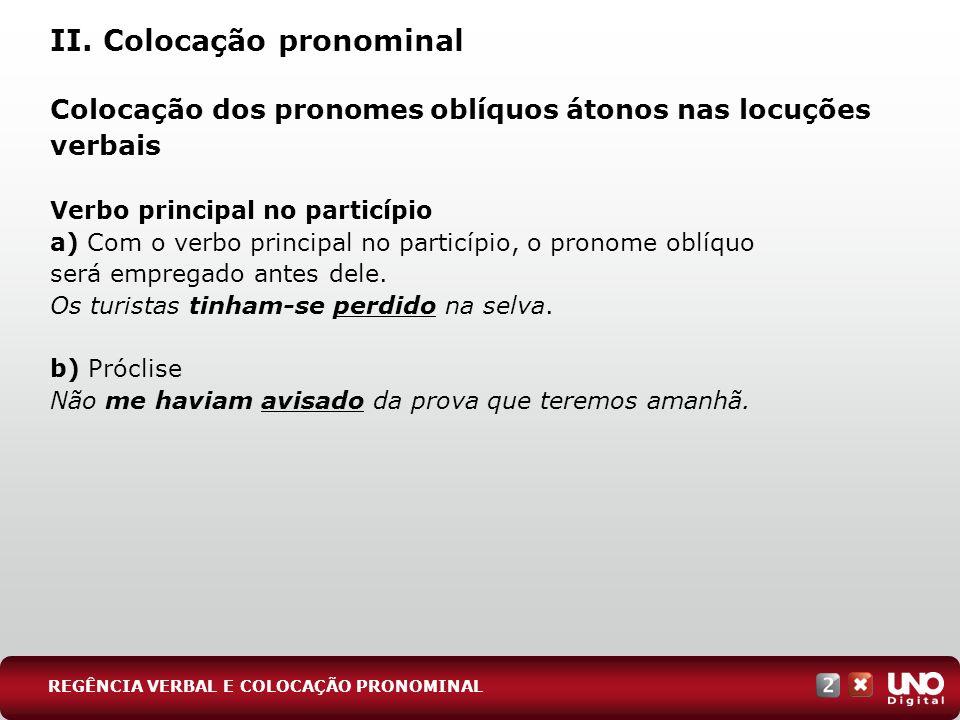 II. Colocação pronominal