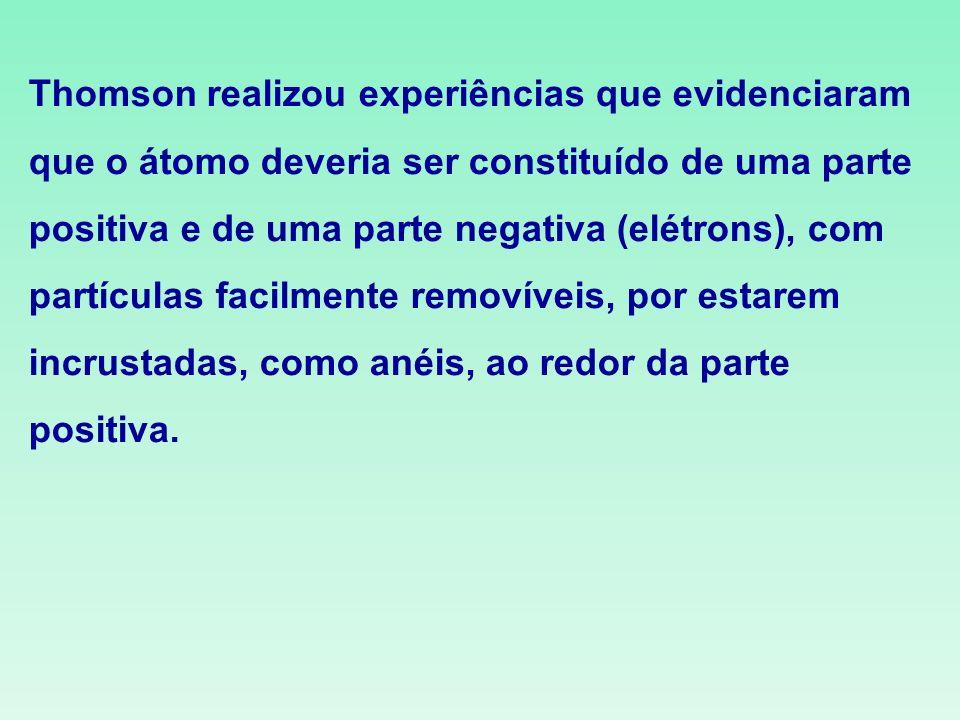 Thomson realizou experiências que evidenciaram