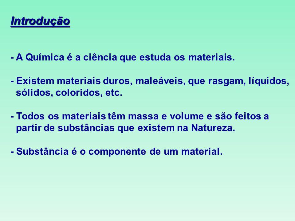 Introdução - A Química é a ciência que estuda os materiais.