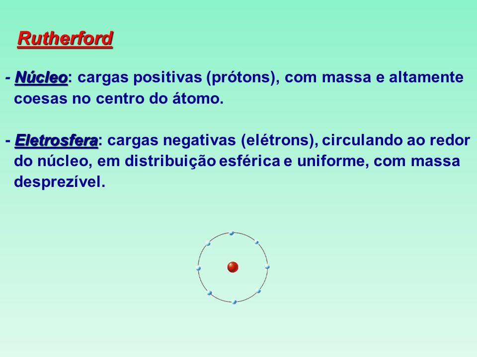 Rutherford - Núcleo: cargas positivas (prótons), com massa e altamente