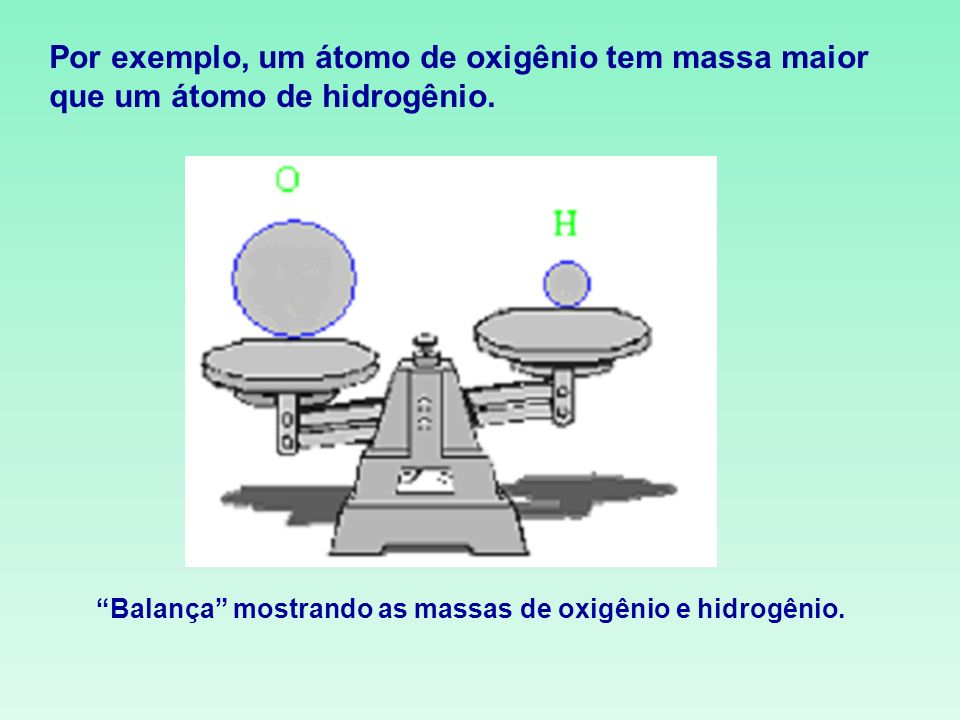 Por exemplo, um átomo de oxigênio tem massa maior