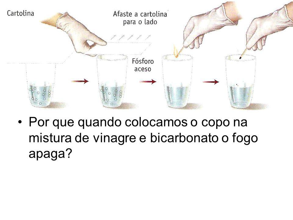 Por que quando colocamos o copo na mistura de vinagre e bicarbonato o fogo apaga