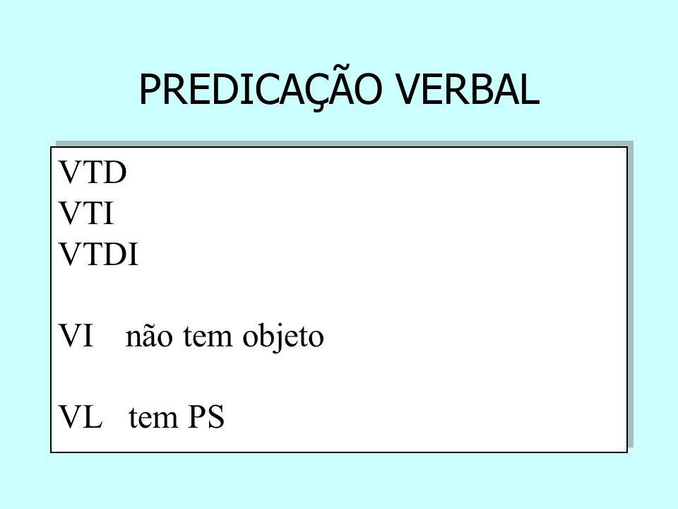 PREDICAÇÃO VERBAL VTD VTI VTDI VI não tem objeto VL tem PS