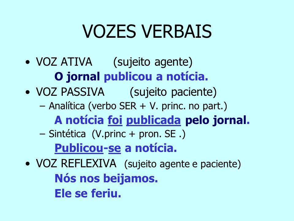 VOZES VERBAIS VOZ ATIVA (sujeito agente) O jornal publicou a notícia.