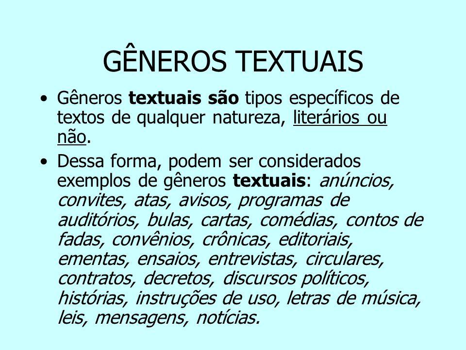 GÊNEROS TEXTUAIS Gêneros textuais são tipos específicos de textos de qualquer natureza, literários ou não.