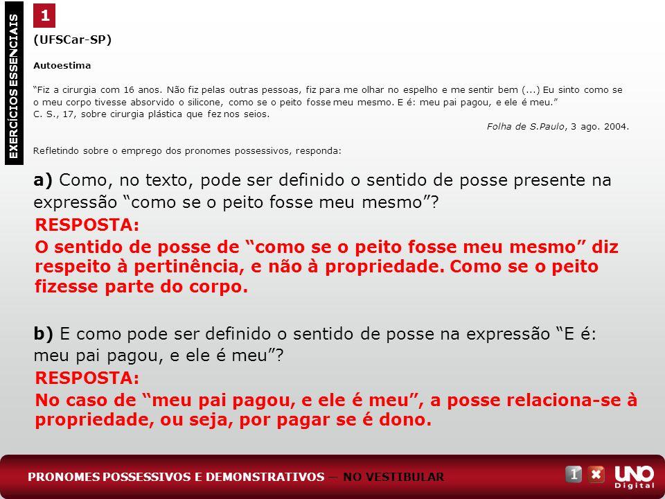1(UFSCar-SP) Autoestima.
