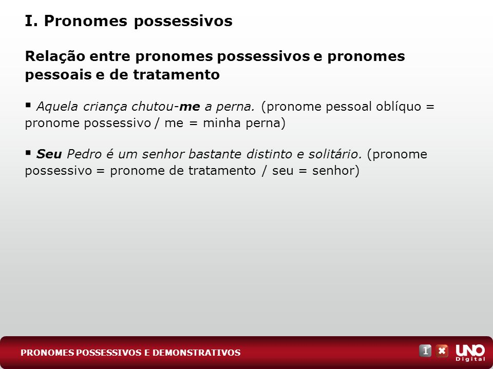 I. Pronomes possessivos