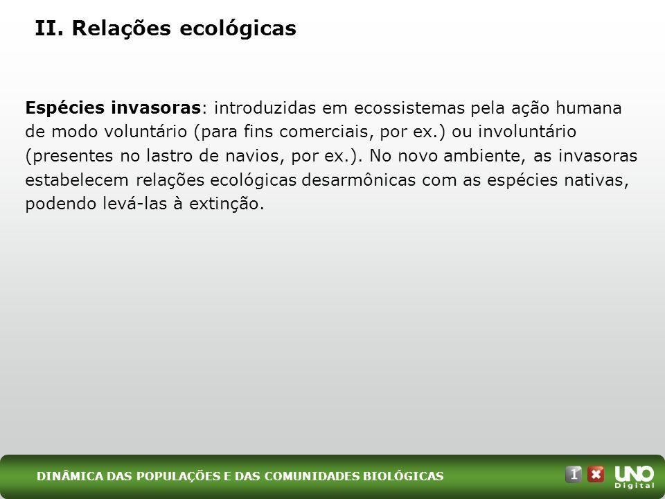 II. Relações ecológicas