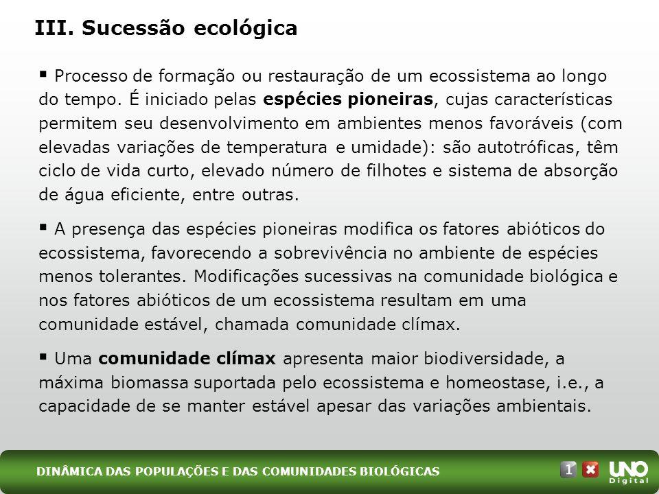 III. Sucessão ecológica