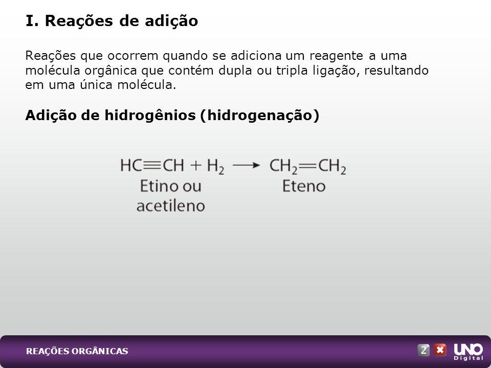 I. Reações de adição Adição de hidrogênios (hidrogenação)