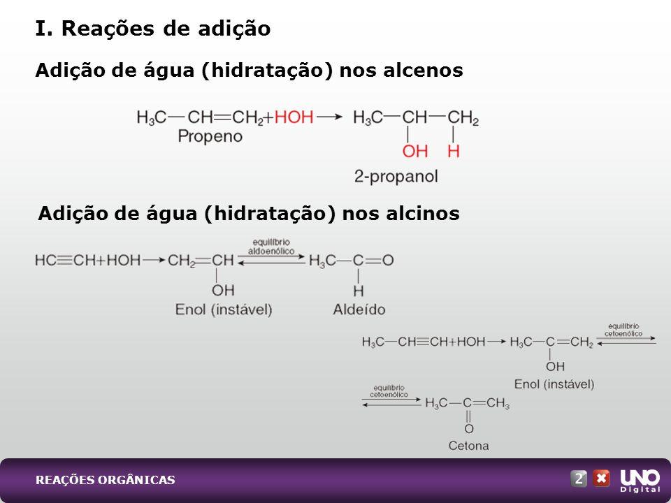 Adição de água (hidratação) nos alcenos