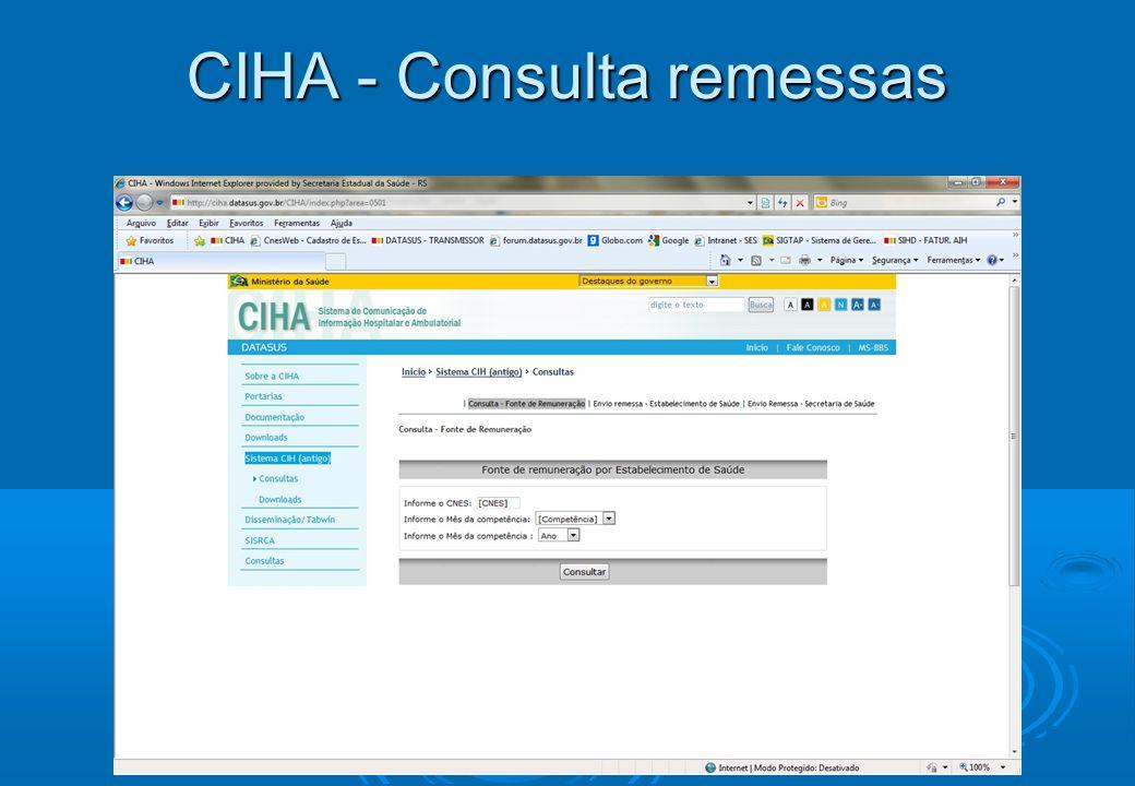 CIHA - Consulta remessas