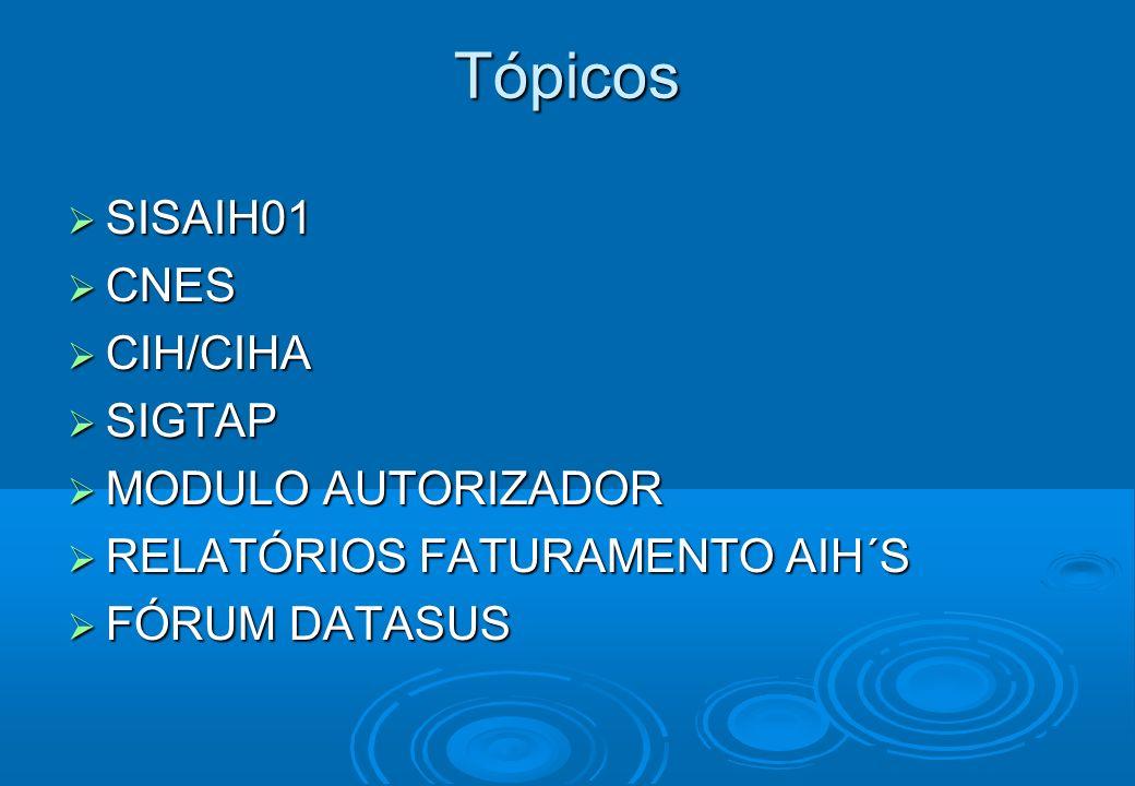 Tópicos SISAIH01 CNES CIH/CIHA SIGTAP MODULO AUTORIZADOR