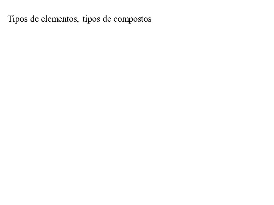 Tipos de elementos, tipos de compostos