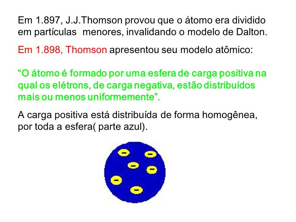 Em 1.897, J.J.Thomson provou que o átomo era dividido em partículas menores, invalidando o modelo de Dalton.