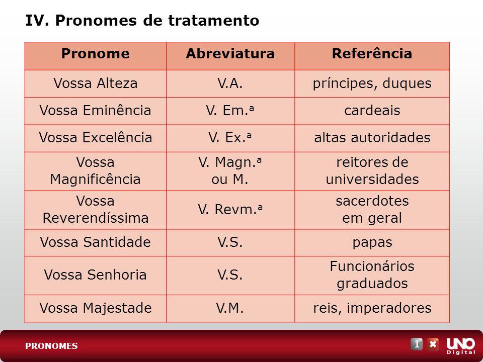 IV. Pronomes de tratamento
