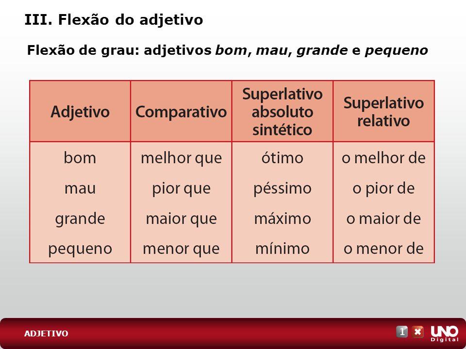 III. Flexão do adjetivo Flexão de grau: adjetivos bom, mau, grande e pequeno ADJETIVO