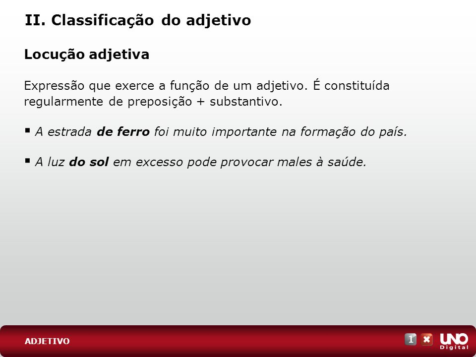 II. Classificação do adjetivo