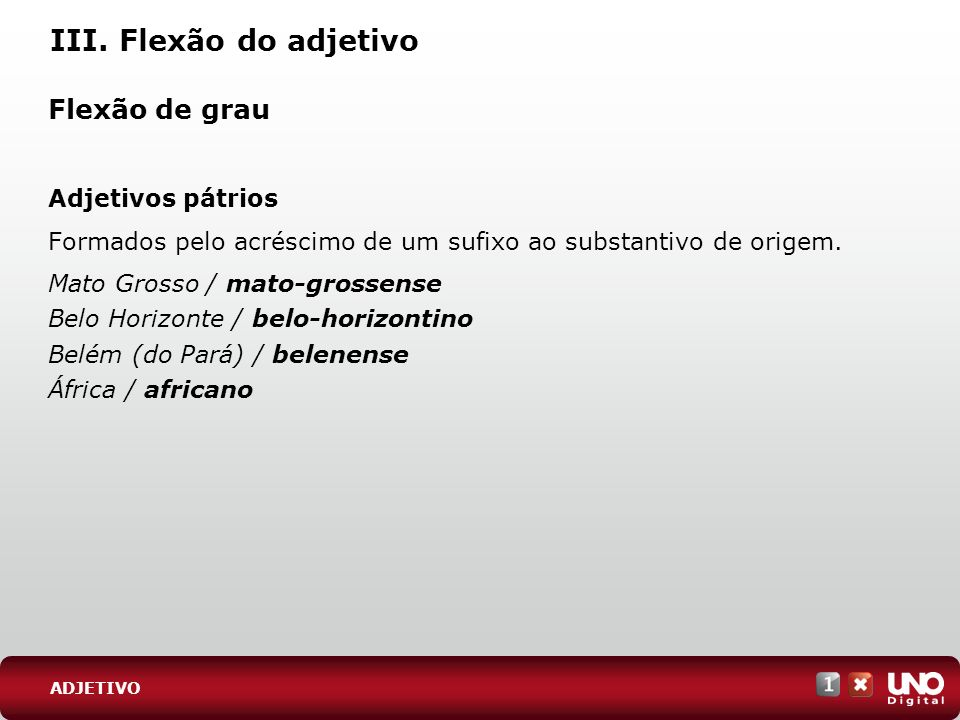 III. Flexão do adjetivo Flexão de grau Adjetivos pátrios