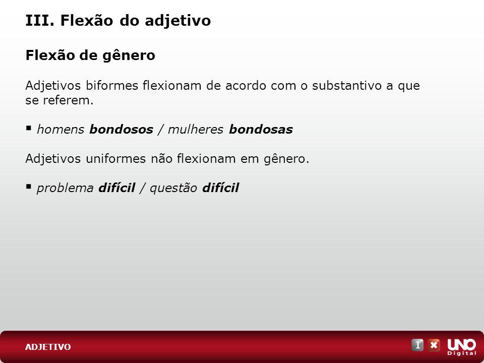 III. Flexão do adjetivo Flexão de gênero