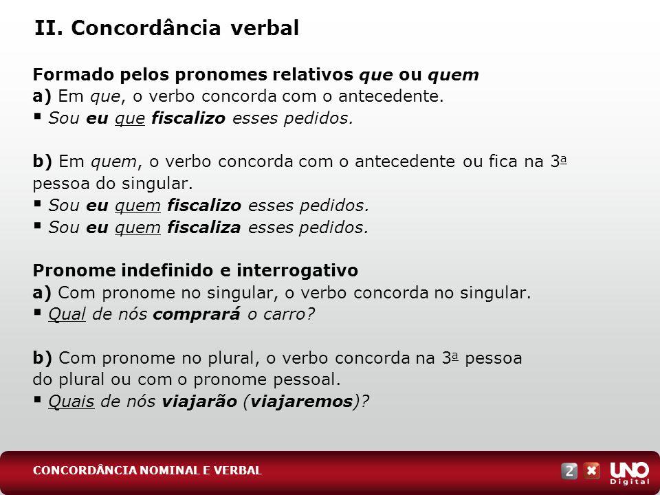 II. Concordância verbal