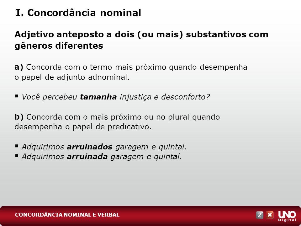 I. Concordância nominal