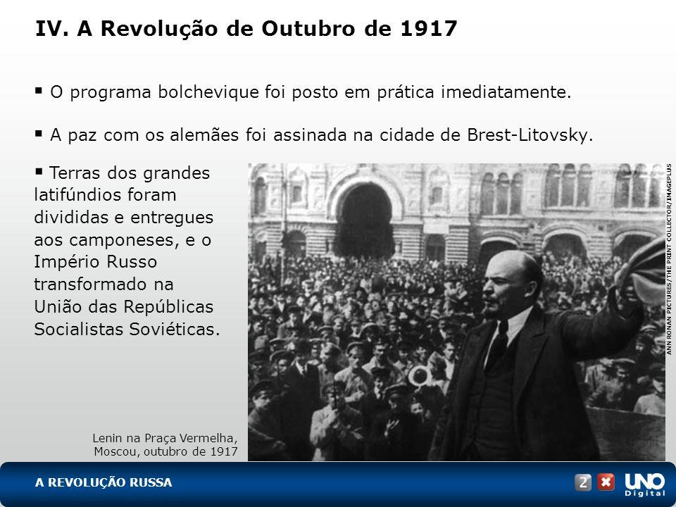 IV. A Revolução de Outubro de 1917