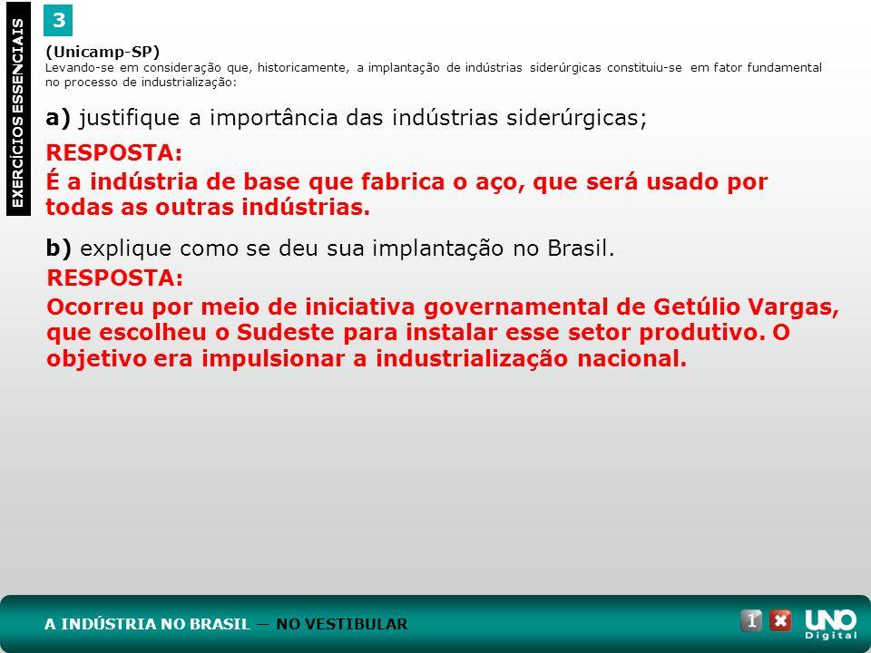 a) justifique a importância das indústrias siderúrgicas;