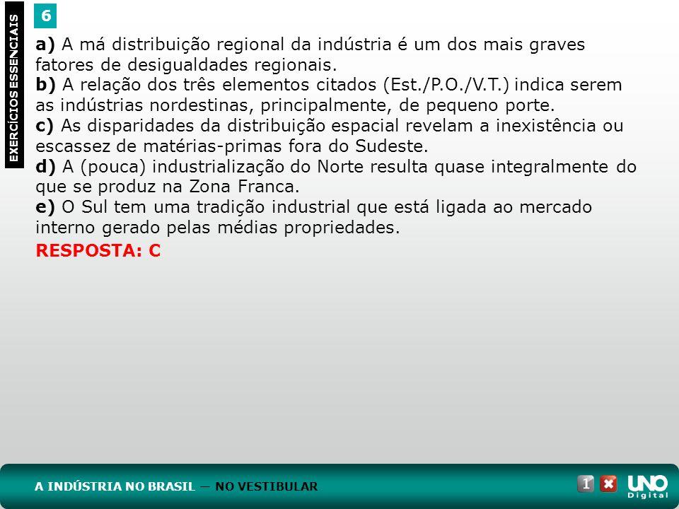Geo-cad1-top-9 – 3 Prova 6. a) A má distribuição regional da indústria é um dos mais graves fatores de desigualdades regionais.