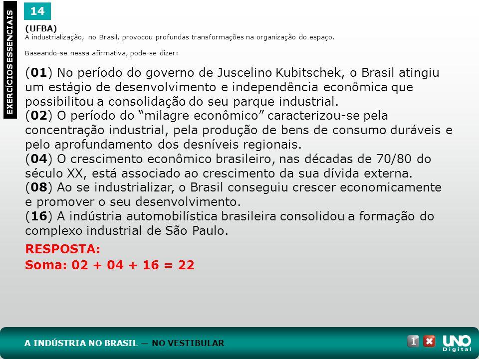 Geo-cad1-top-9 – 3 Prova 14. (UFBA) A industrialização, no Brasil, provocou profundas transformações na organização do espaço.