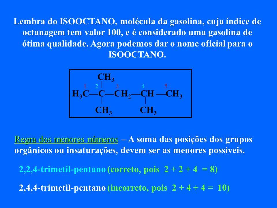Lembra do ISOOCTANO, molécula da gasolina, cuja índice de octanagem tem valor 100, e é considerado uma gasolina de ótima qualidade. Agora podemos dar o nome oficial para o ISOOCTANO.