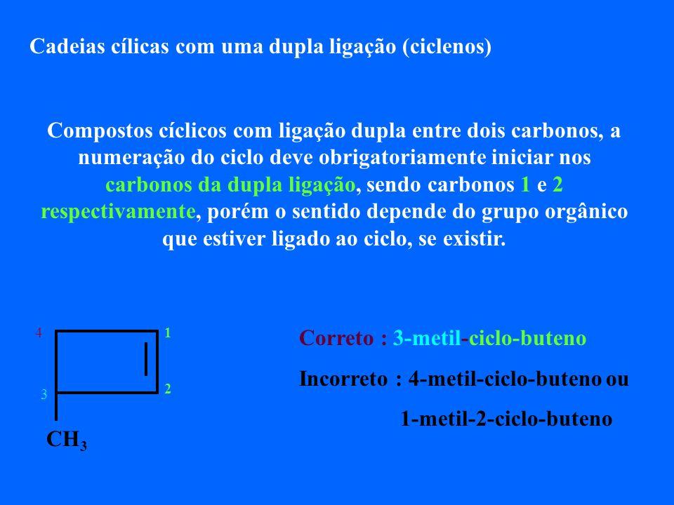 Cadeias cílicas com uma dupla ligação (ciclenos)
