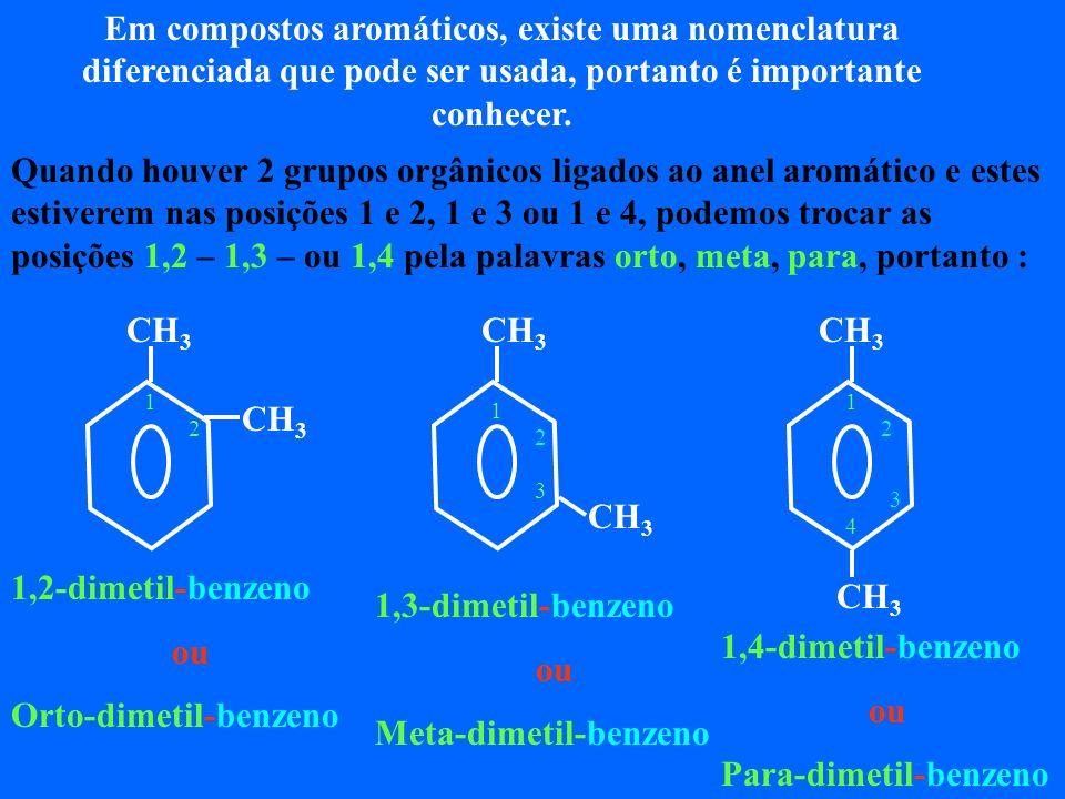 Em compostos aromáticos, existe uma nomenclatura diferenciada que pode ser usada, portanto é importante conhecer.