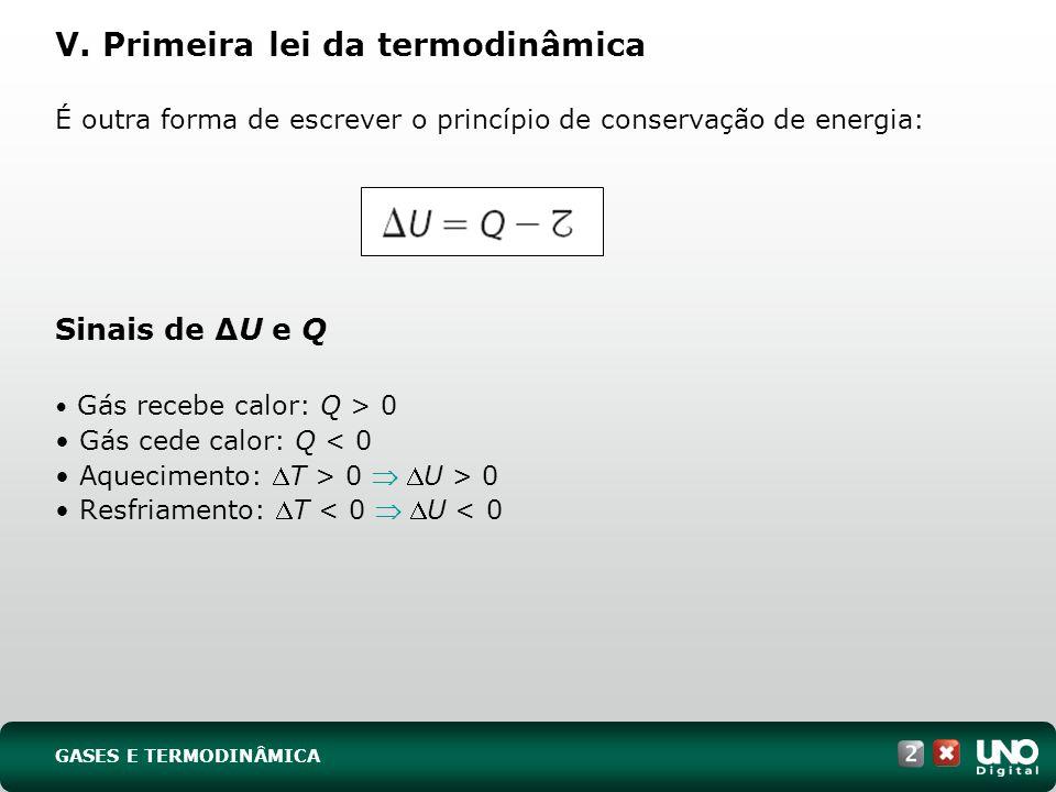 V. Primeira lei da termodinâmica
