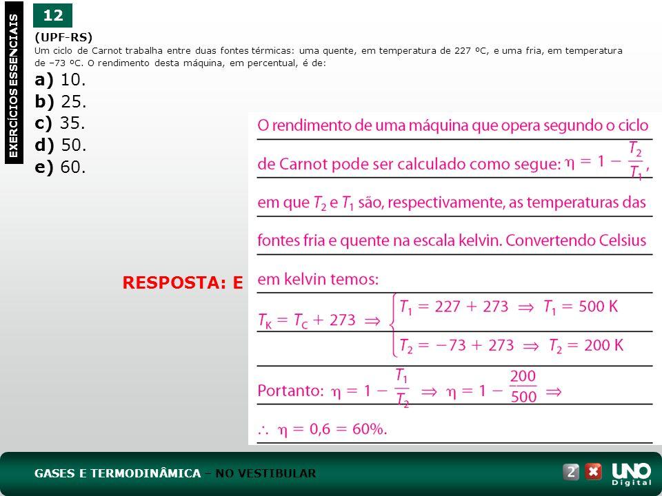 a) 10. b) 25. c) 35. d) 50. e) 60. RESPOSTA: E 12