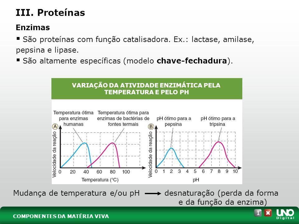 VARIAÇÃO DA ATIVIDADE ENZIMÁTICA PELA TEMPERATURA E PELO PH