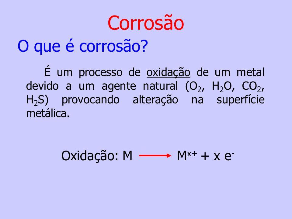 Corrosão O que é corrosão Oxidação: M Mx+ + x e-