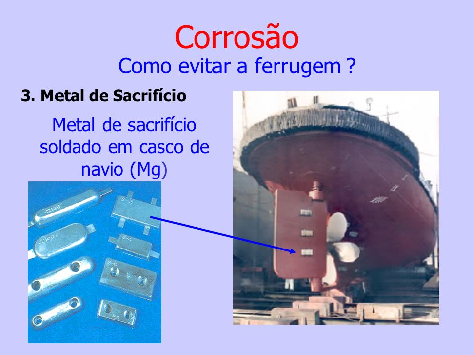 Metal de sacrifício soldado em casco de navio (Mg)